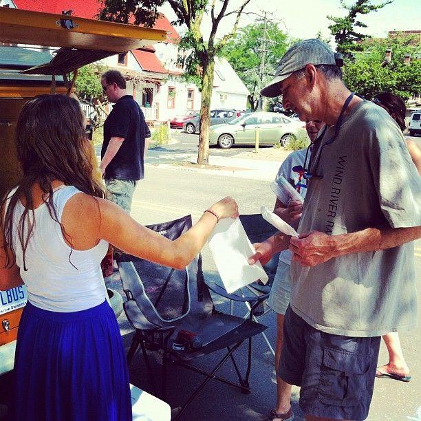 @Ingenex Digital Marketing intern @CarolineZieleniewski hands out popsicles by the #DigitalBus at Sonic Lunch.