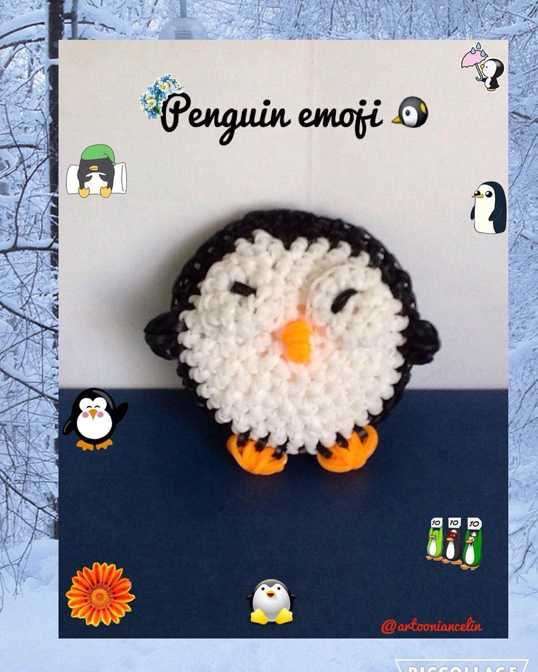 Penguin emoji made by me! #emoji #loomigurumi #amigurumi #penguin #snow…