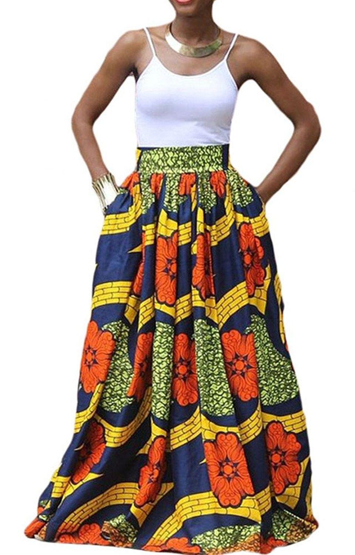 7435cadeafd9 Women African Print Plus Size High Waist Ankara Maxi Skirt S-XXL - Colorful  Floral - CP12NYABV9C,Women's Clothing, Skirts #women #clothing #fashion  #style ...