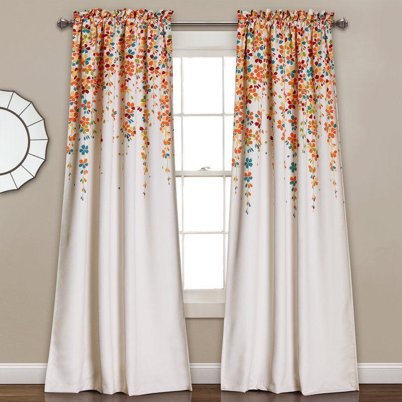 Cumberland Floral Room Darkening Thermal Rod Pocket Curtain Panels