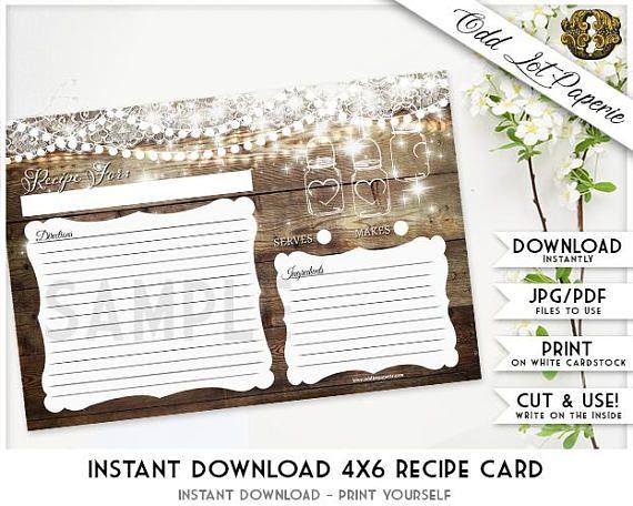 Printable Recipe Cards Rustic Recipe Card Template Mason #recipes - recipe card