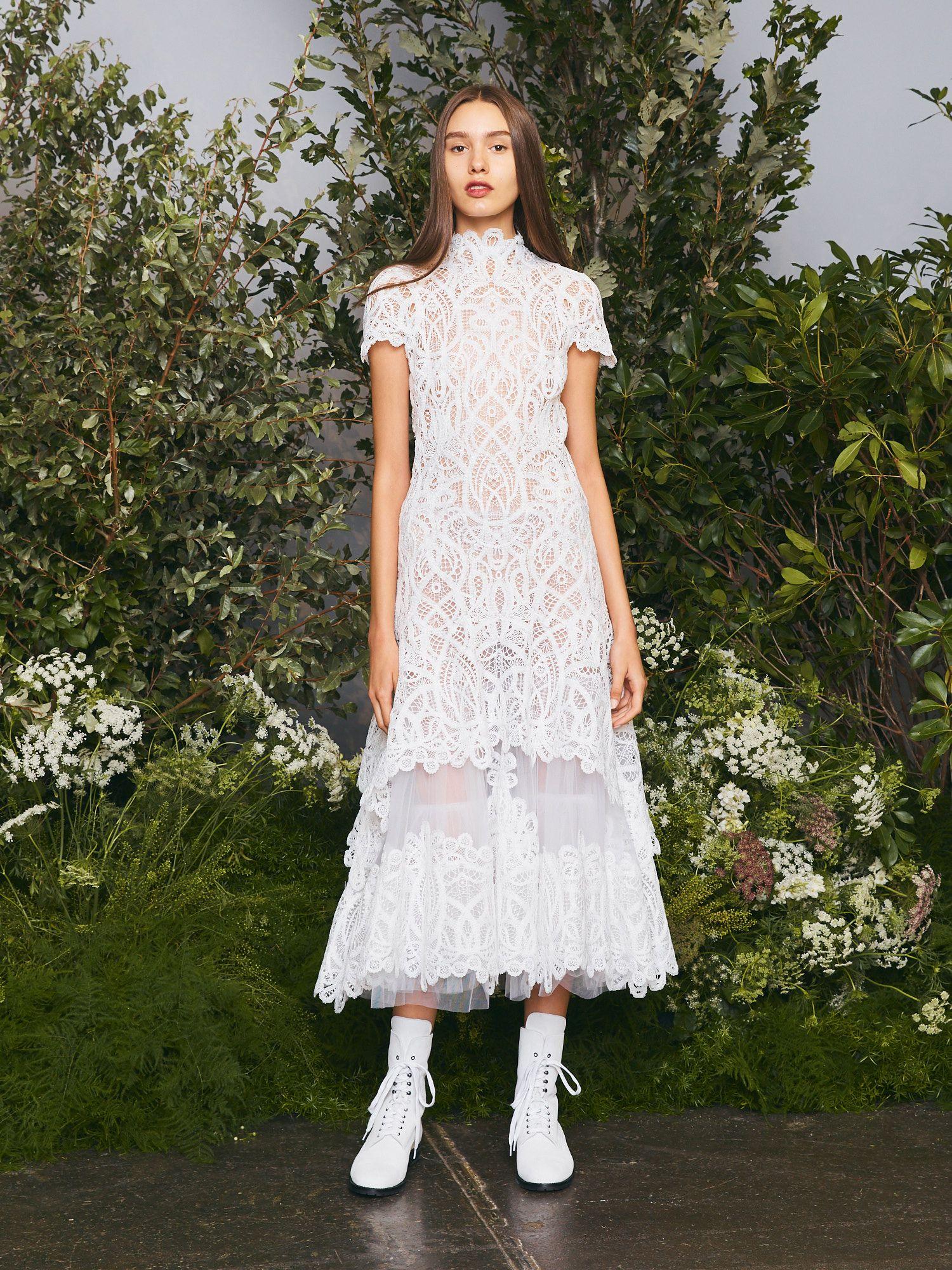 Threaded Lace Tiered Midi Dress Cap Sleeve Lace Dress Tiered Midi Dress Modern Bridal Dress [ 2000 x 1500 Pixel ]