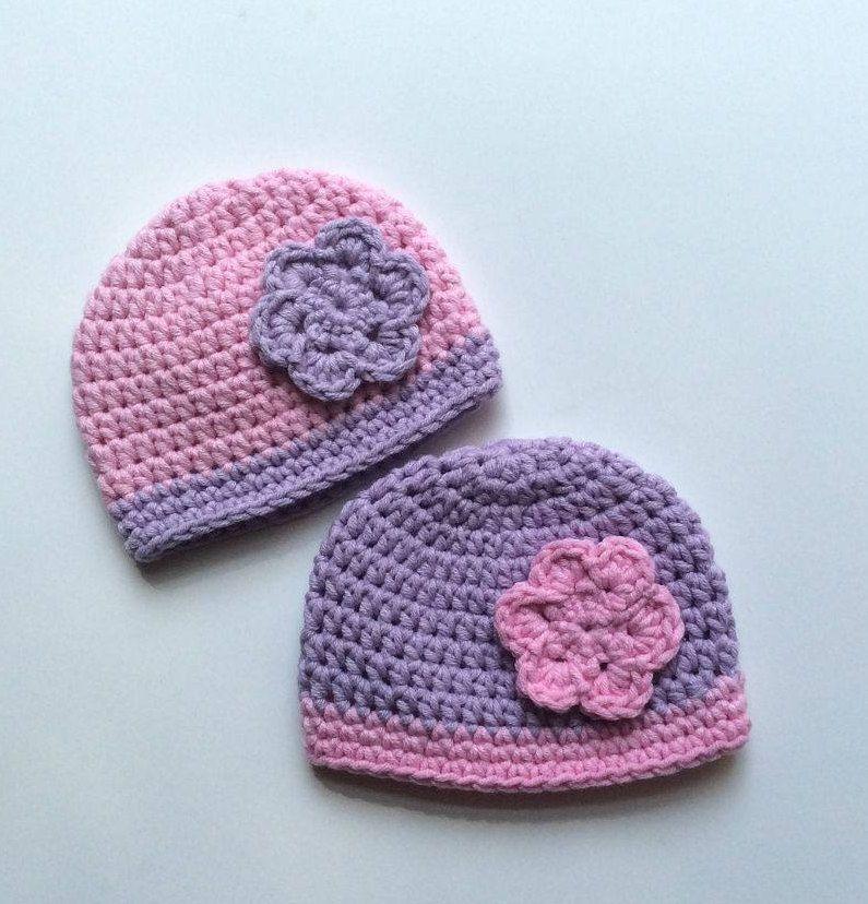 Twins Baby Gift, Twin Girls Preemie, Girl Preemie Hats, Crochet ...