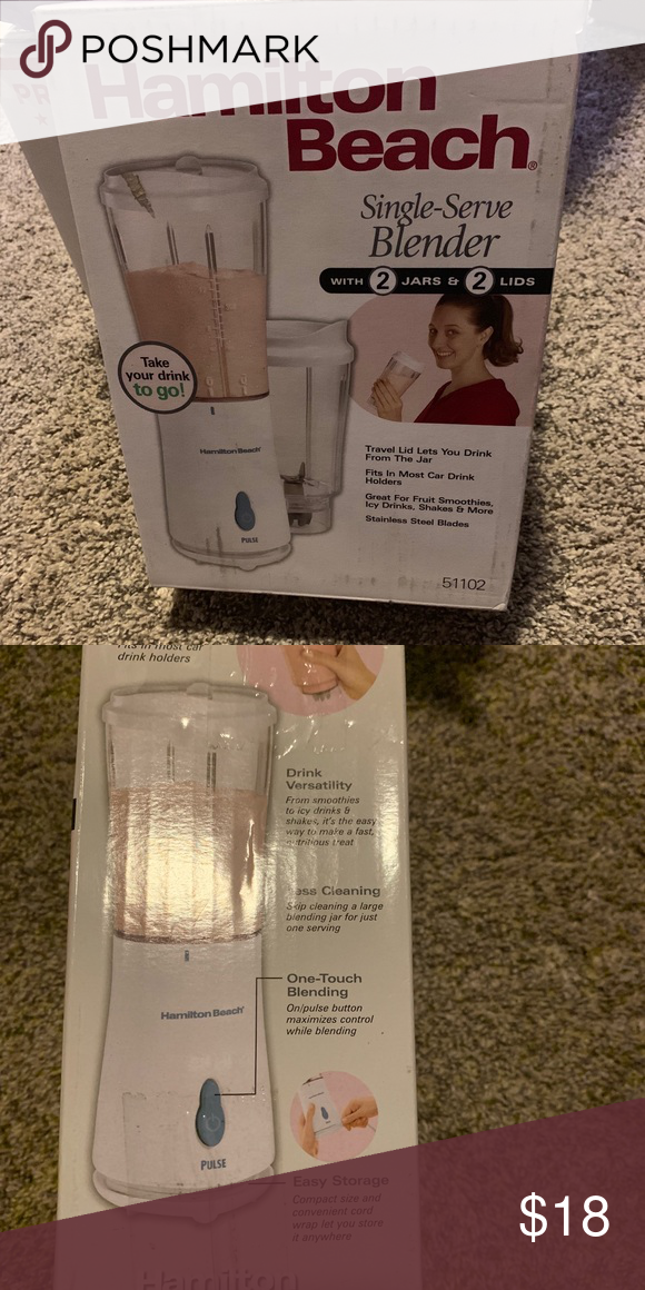 Hamilton Beach Single Serve Blender Brand New Brand New In Box Comes With Two 15oz Travel Jars With Lids Single Serve Blenders Hamilton Beach Single Serve