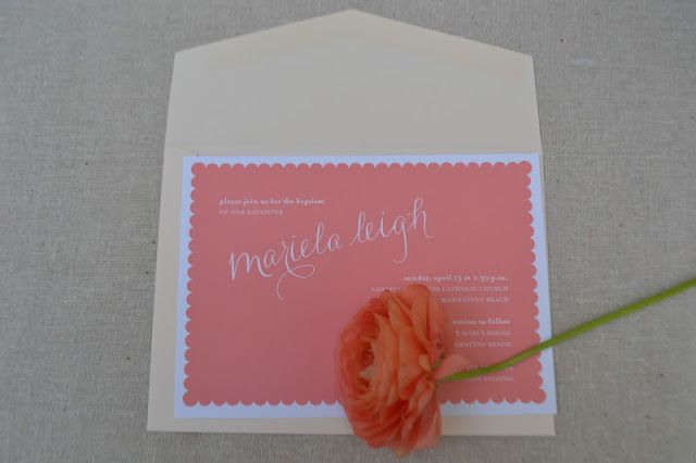 Fab printing on Reich Paper SAVOY 100% cotton tree free paper. Great letterpress paper paper{whites}: papaya scallop-inspired invitations.