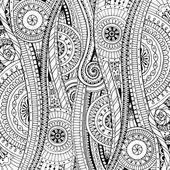 Fondo de vector con garabatos, flores y paisley de Doodle. Patrón étnico vector puede utilizarse para fondo de pantalla, llena de patrones, libros y páginas de colorear para niños y adultos. Blanco y negro — Vector de stock