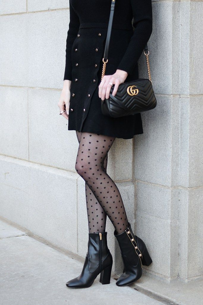 04cd35c3c5016 black and gold holiday party outfit idea, black sweater dress, black boots  with gold buttons, polka dot tights, black gucci marmont bag #holiday ...