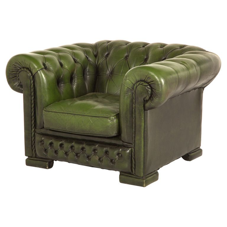 Swell Vintage Green Tufted Leather Chesterfield Chair Green Machost Co Dining Chair Design Ideas Machostcouk