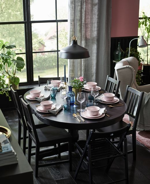 an extended dining table is set for dinner for 6 people with light rh pinterest com