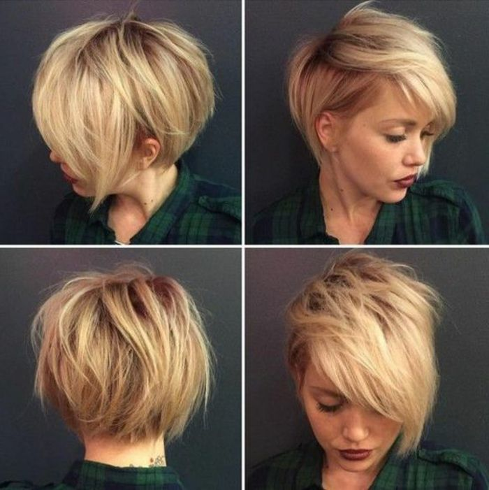 coiffure blonde courte, coupe courte asymétrique sur cheveux blonds ,  asymetrique blonde cheveux coiffure coupe courte