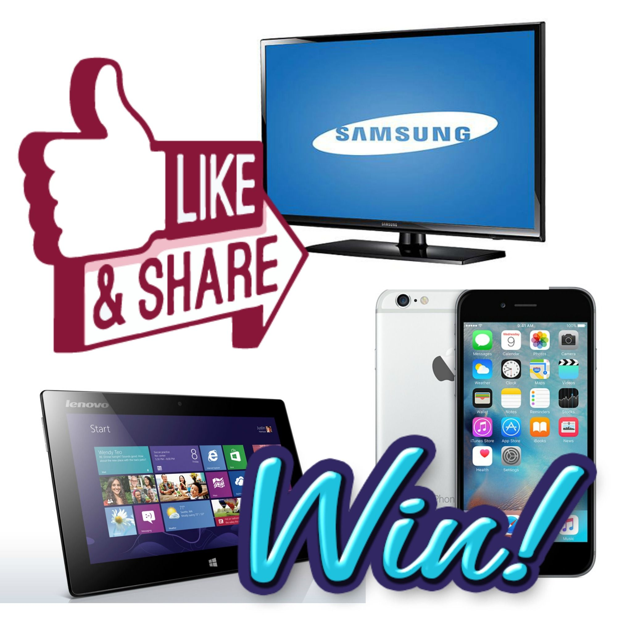 Win Samsung TV's, Apple Iphone, And Lenova Tablet