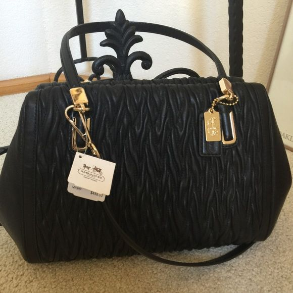 """Coach Black Leather Handbag.      NWT Beautiful new bag with pleated leather and gorgeous Fushia satin lining . Measures 14"""" X 8"""" X 3"""" Coach Bags Shoulder Bags"""