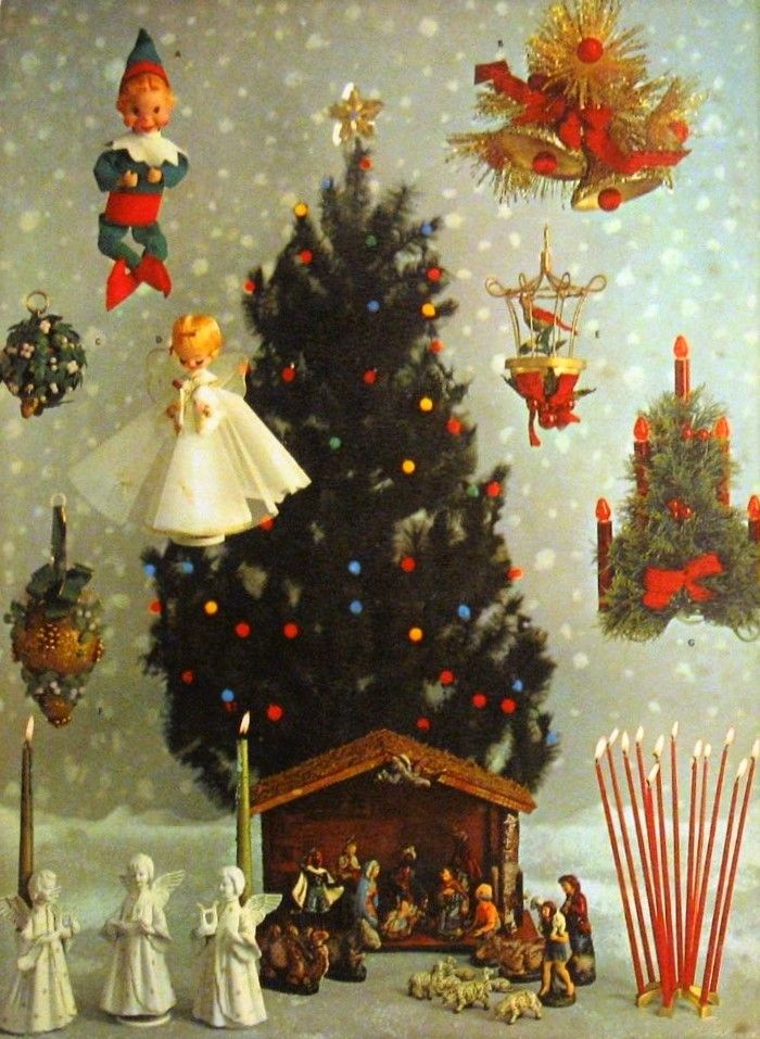 Vintage Christmas Card Image Shabby Cottage Style Christmas Decor Pink Retro Kitsch Angel Christmas Tree Topper