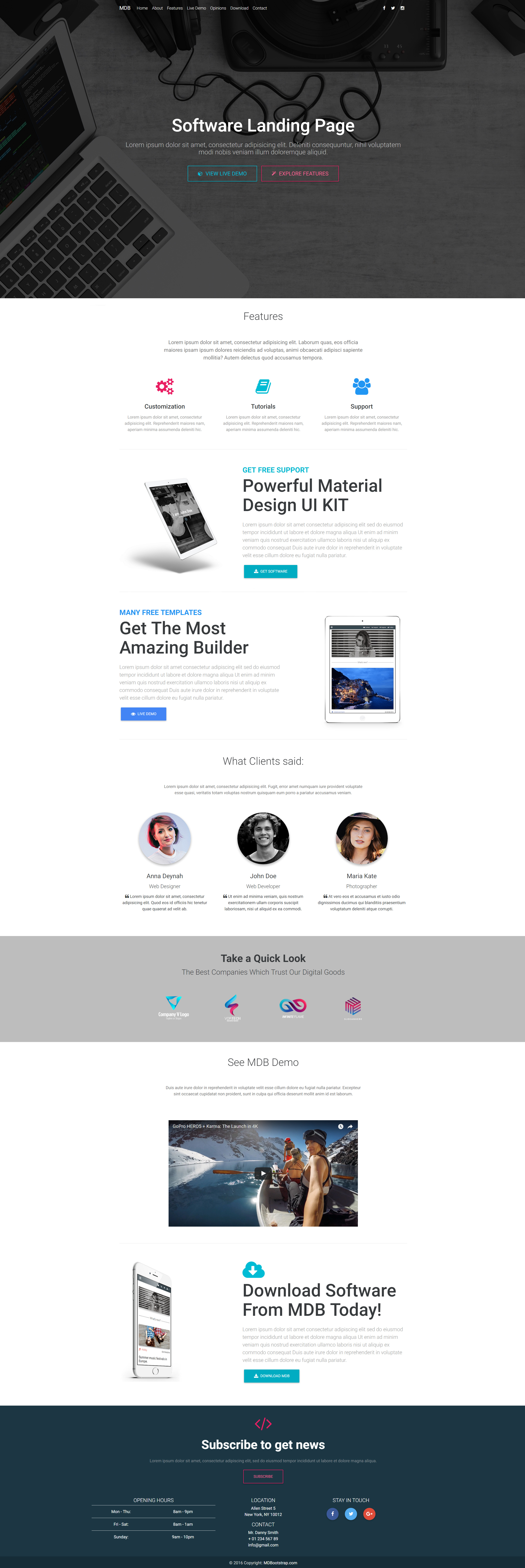 Software Landing Page Template created with Material Design for ...