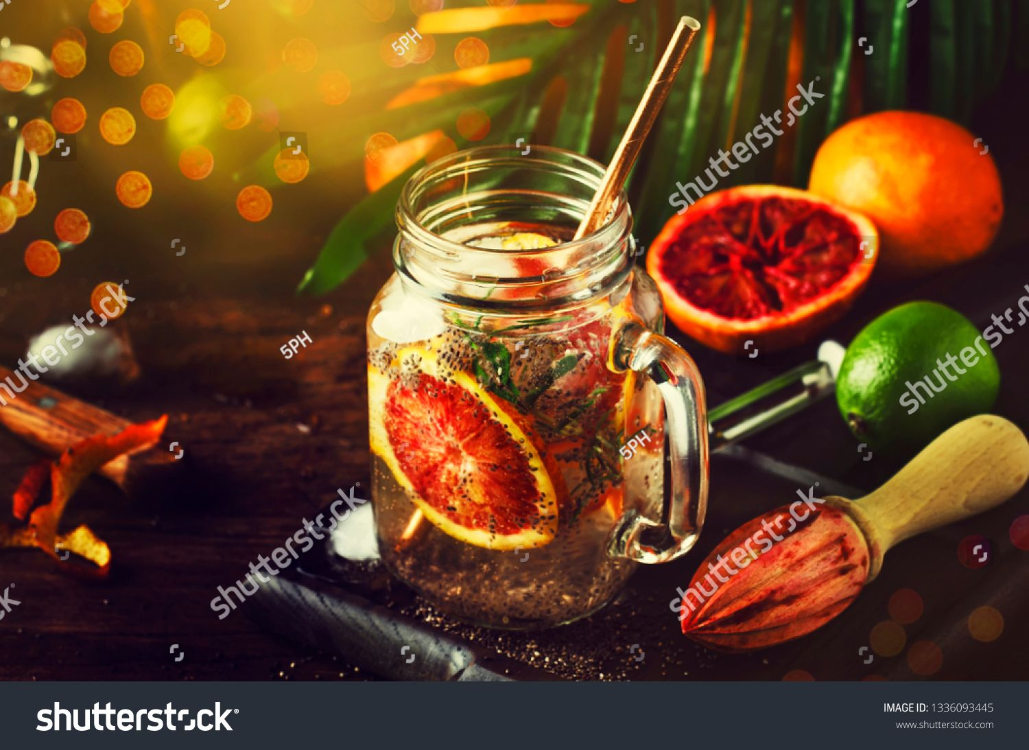 Summer Cold Detox Drink With Red Orange Rosemary Citrus Fruit