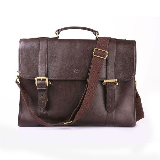 74935927a42 Mulberry Mens Walter Natural Leather Briefcase Dark Coffee 6181-342DCF