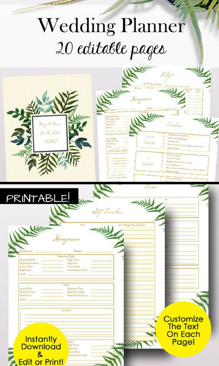 Planner Page Templates Custom Wedding Planner Pdf Editable Wedding Planner Printables Editable .