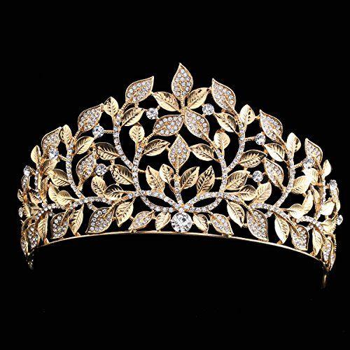 Fumud Gold Bridal Crown Tiaras Fashion Rhinestone Leaves Shape Vintage Wedding Headbands Headwear
