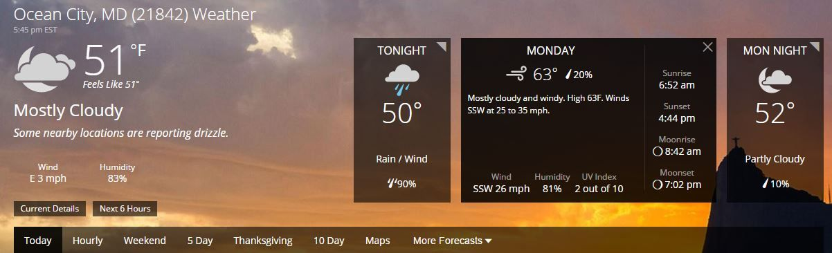 Ocean City Md Weather Forecast And Conditions The Weather Channel Weather Com Ocean City Weather Forecast Ocean City Md