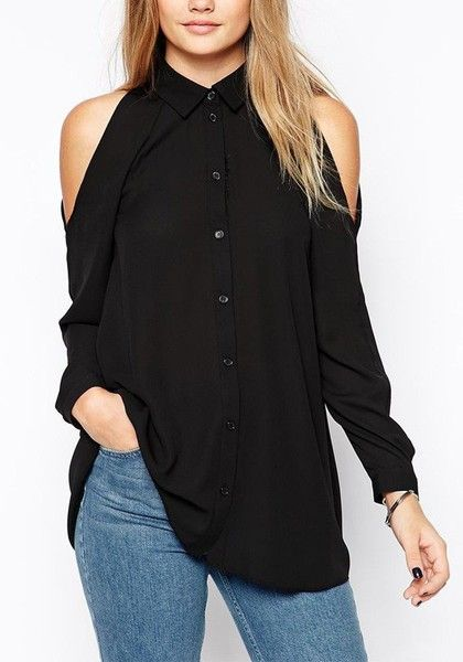3562eecf1eb9a Lookbook Store Black Cold Shoulder Button-down Shirt Source