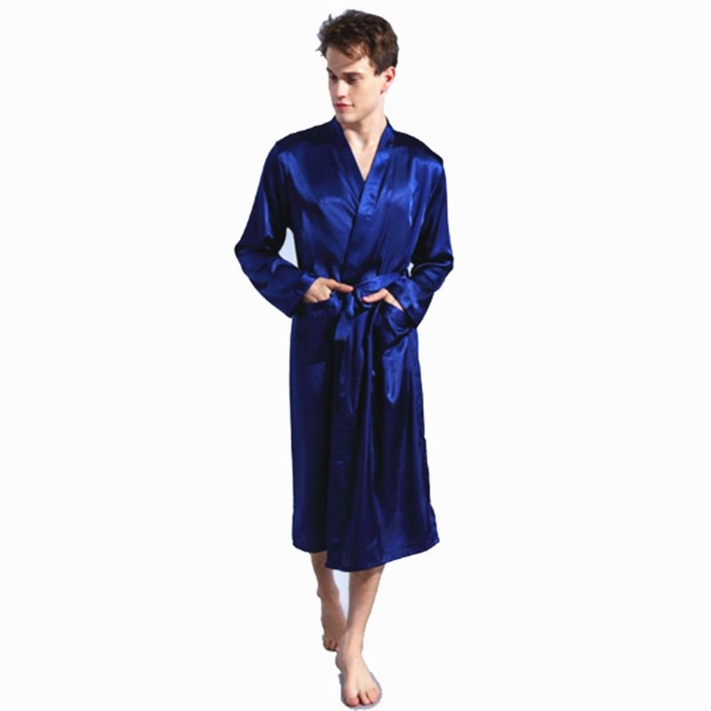 621a6e152c 2017 Men s Satin Solid Robes Bathrobe Long Sleeve Nightgown Loose Plus Size Sleepwear  Dressing Gown For