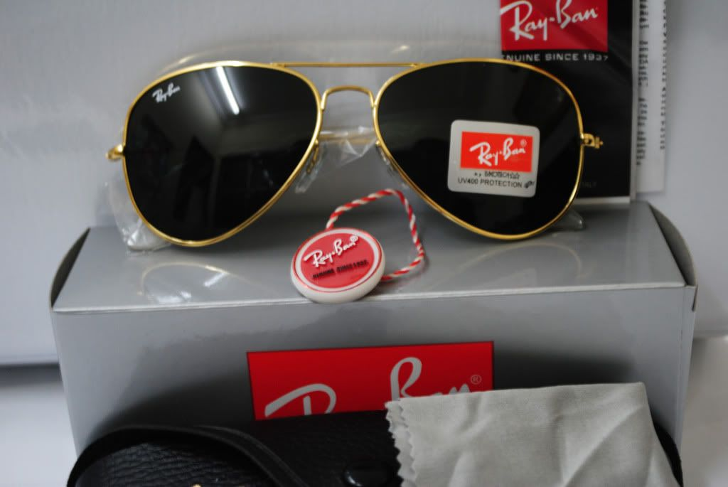 ray ban aviator golden frame  ray ban black glass with golden frame