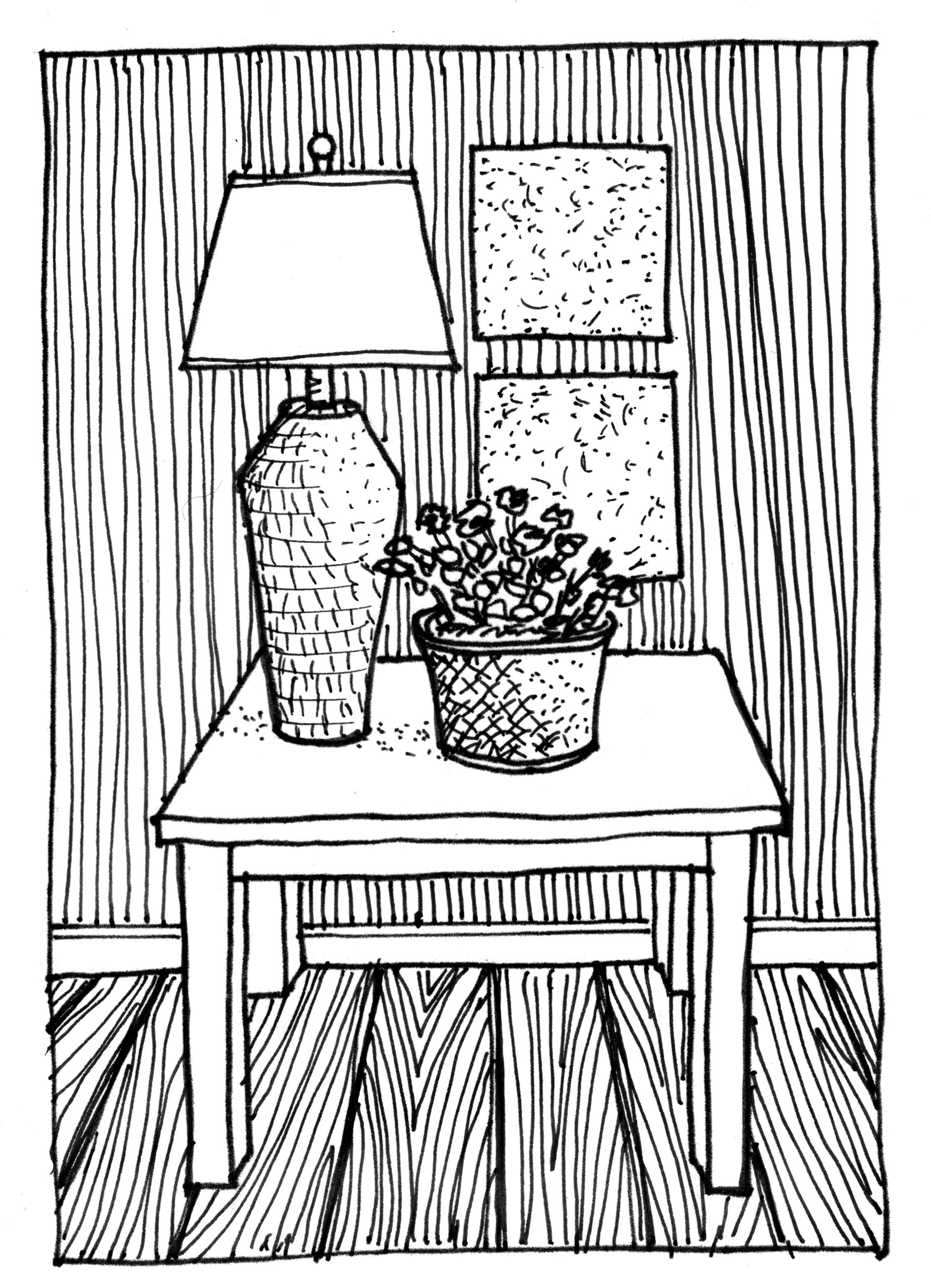 Table Lamp Plant Contrast Drawings