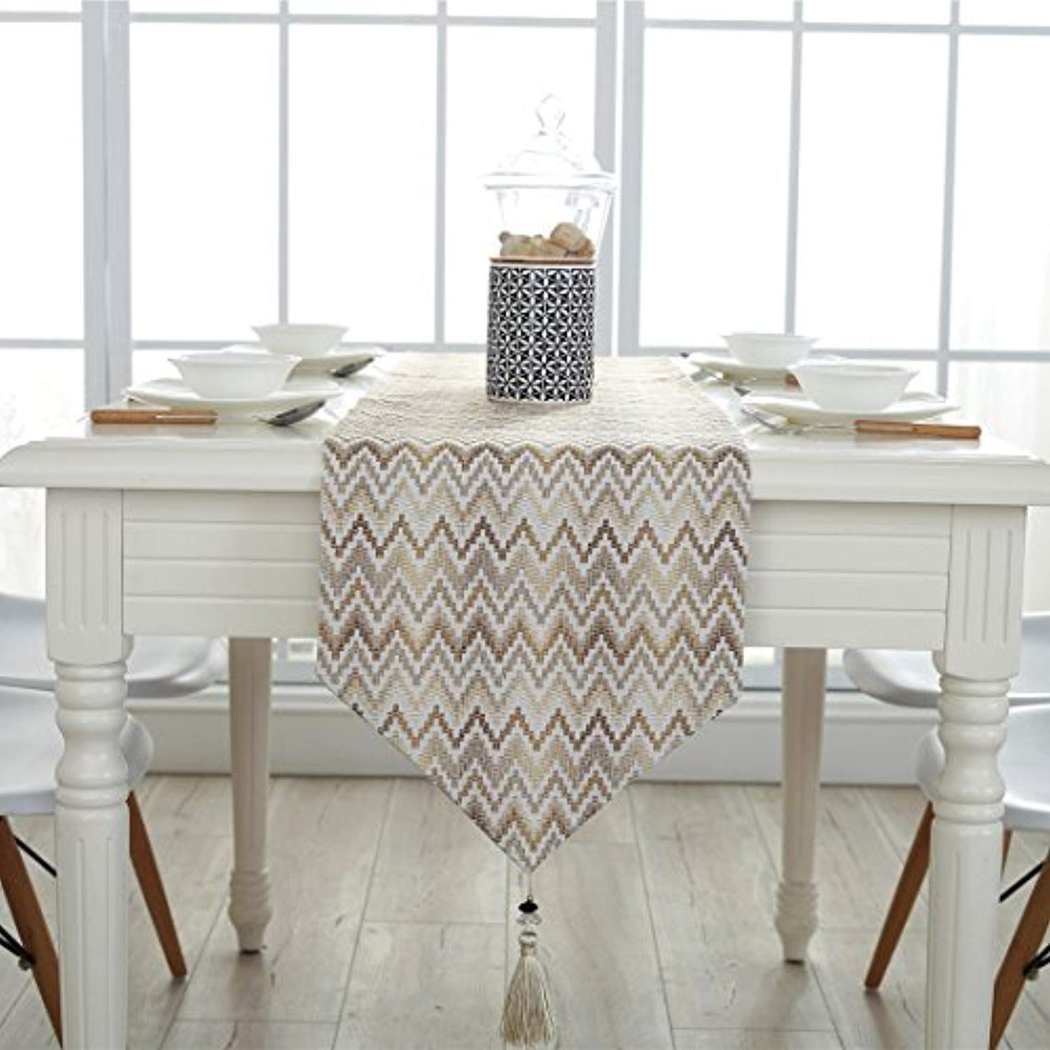 Ethomes geometric pattern cotton linen fabric table runner home outdoor kitchen dining room decor 13 x 63 inches33 x 160cm check out this great