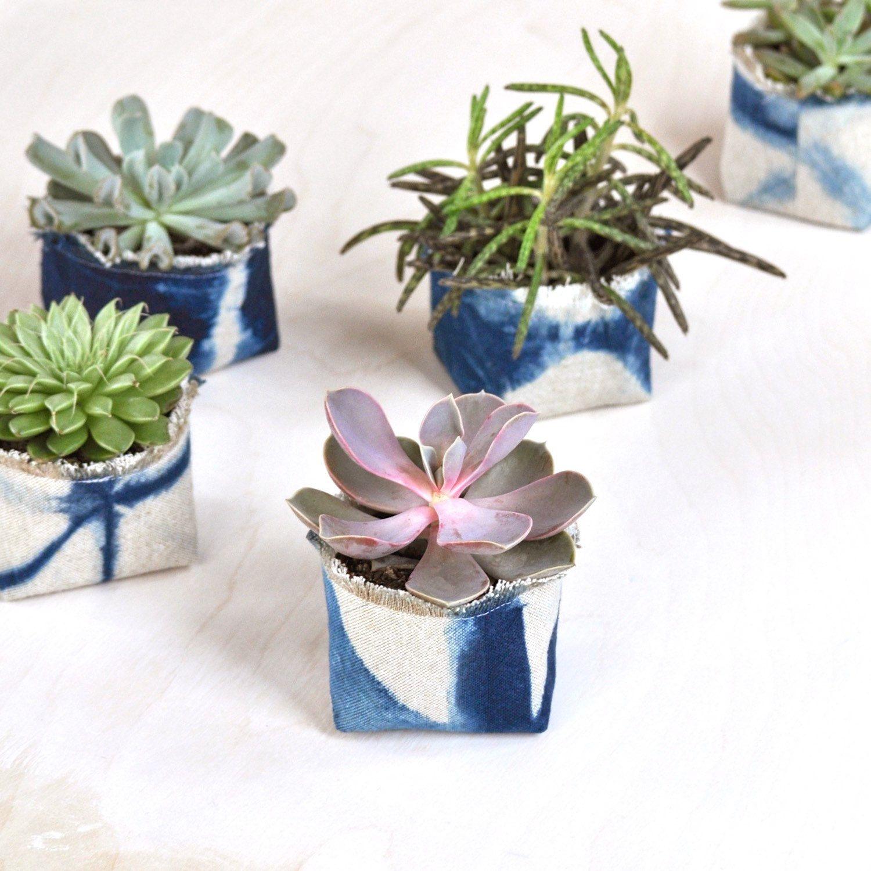 Shibori Indigo Fabric Pot — 3\