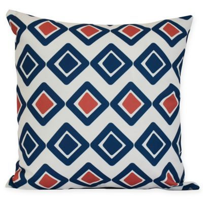 E By Design Diamond Jive 2 Square Pillow In Navy Blue
