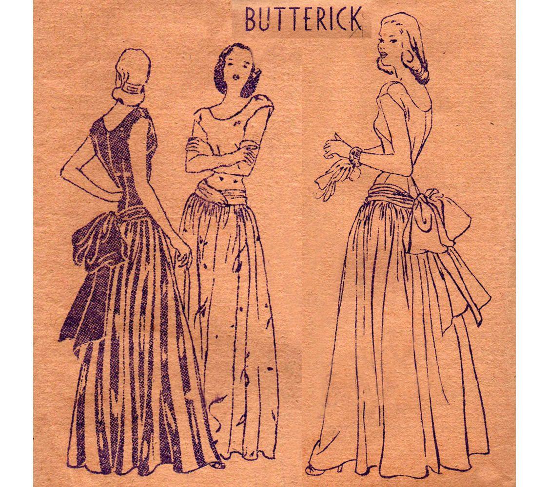 SELTENE 1940er Jahren treiben zurück Tanz Kleid Muster | Print ...