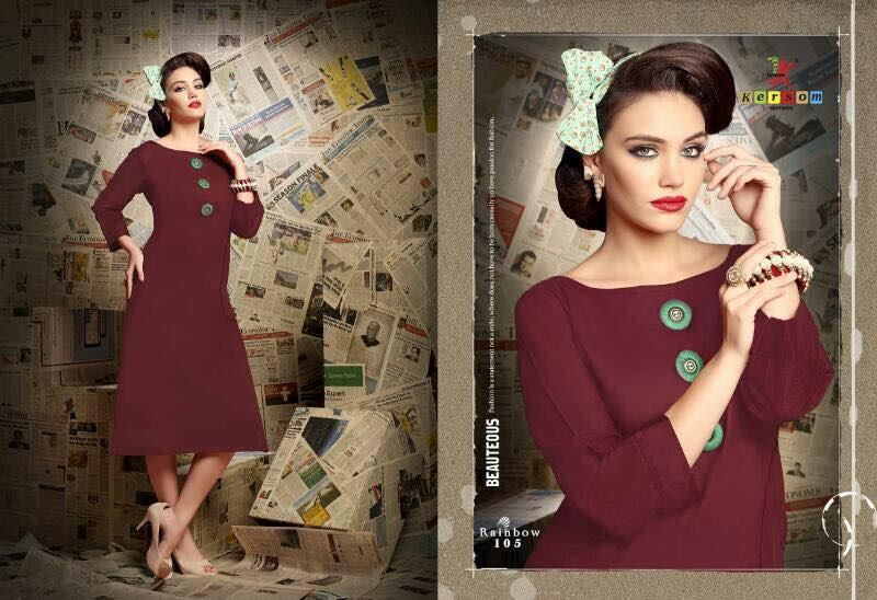 Catalog MOQ : Fullset Total Design : 12 Catalog Name: Kersom Rainbow Category : Kurti Price : 4574 Fabric : Cotton Slub Quality Silaai Pattent Concept Brand : Kersom, New Kersom Rainbow Kurti Catalog
