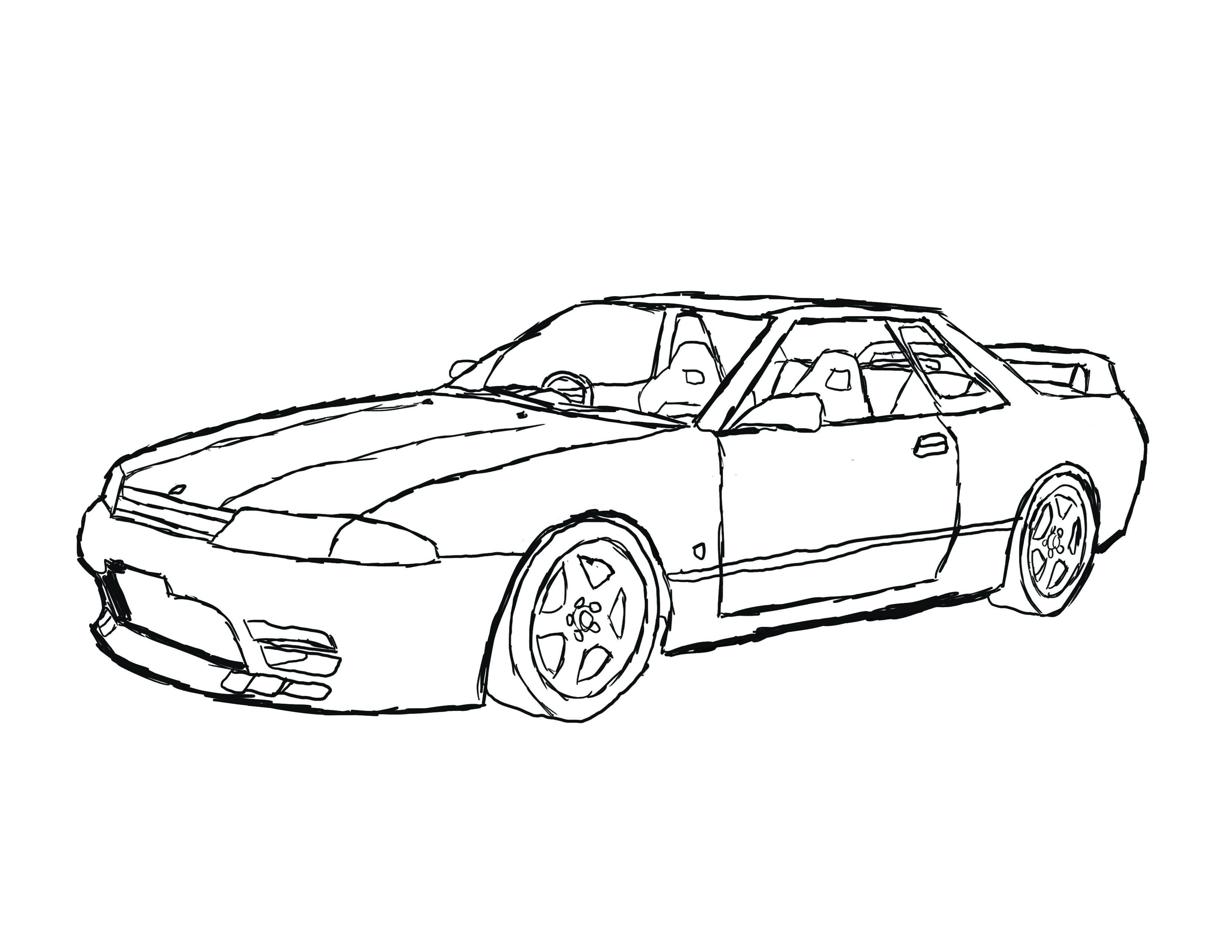 Free Download Nissan Gtr Coloring Pages