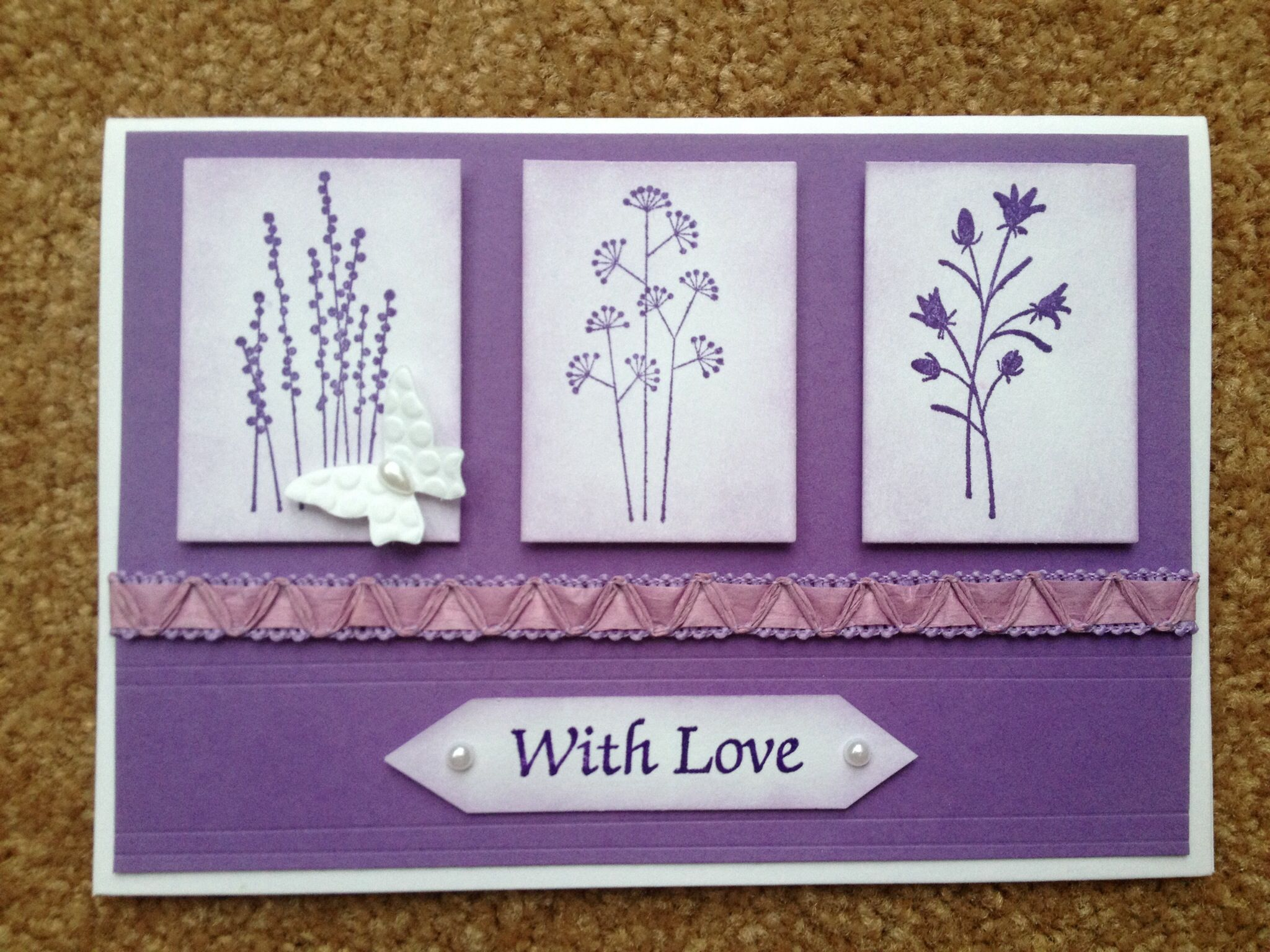 Birthday card stampin up pocket silhouettes with embosslits