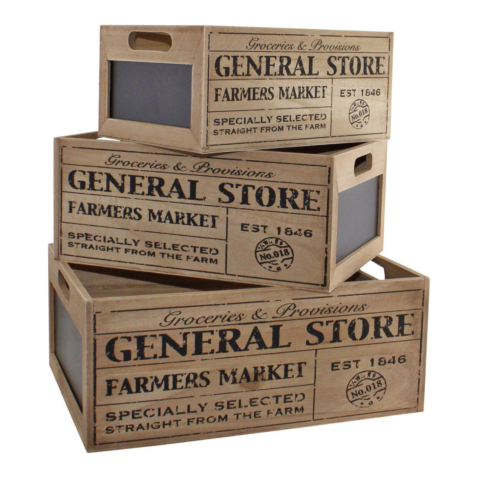 Set Of 3 General Store Chalkboard Storage Crates
