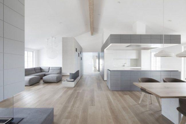 moderne wohnideen grau minimalistisch wohnzimmer offene kueche weiss holzboden wohnzimmer. Black Bedroom Furniture Sets. Home Design Ideas