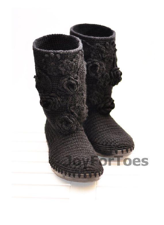 Crochet Women Boots Slippers for the Street Black Romantic Custom Made via Etsy