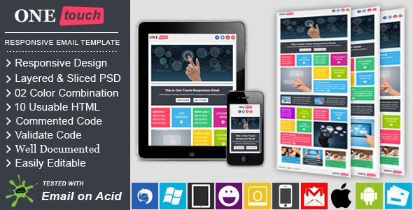 ONETOUCH - Responsive Email Template Responsive email and Css table - professional email template