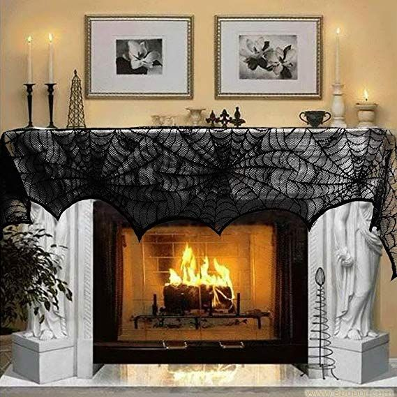 Halloween Decoration Black Lace Spiderweb Fireplace Mantle Scarf