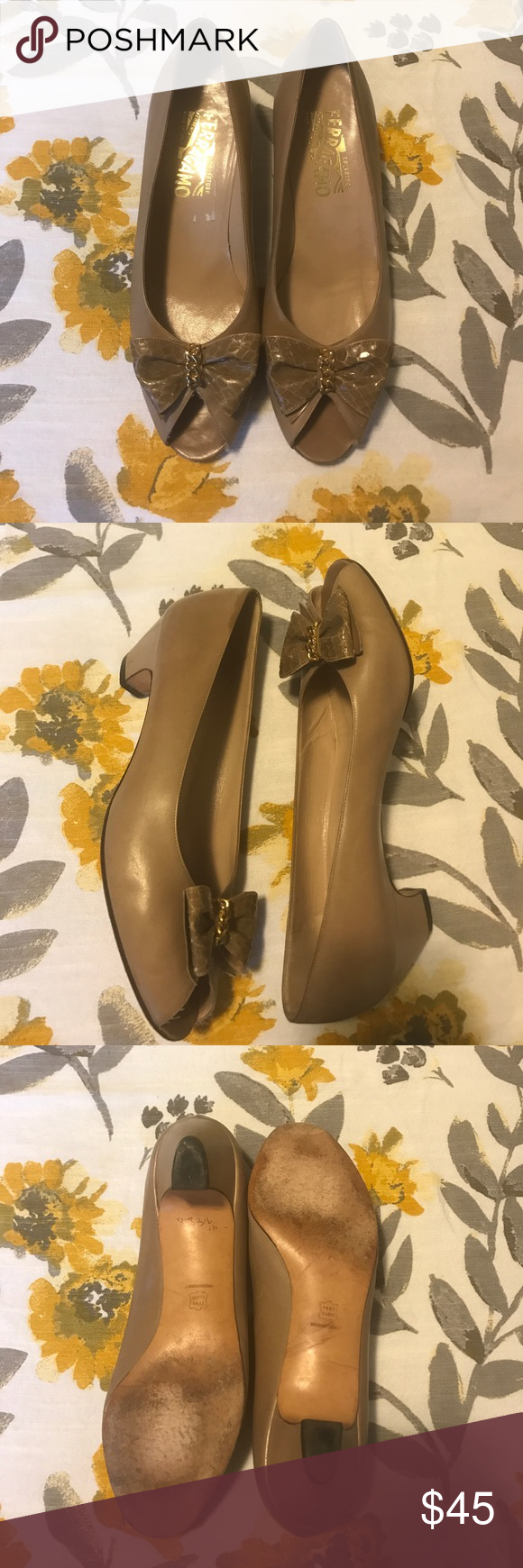 Ferráramos heels Made of leather in great used condition. Have no major flaws other than being gently used. Ferragamo Shoes Heels