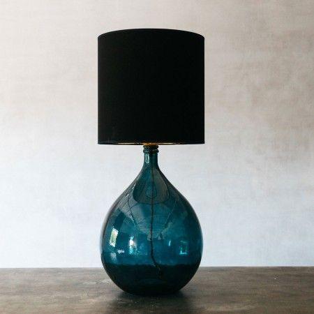 Round Glass Extra Large Blue Lamp Lighting Graham Green Blue Lamp Glass Lamp Blue Glass Lamp