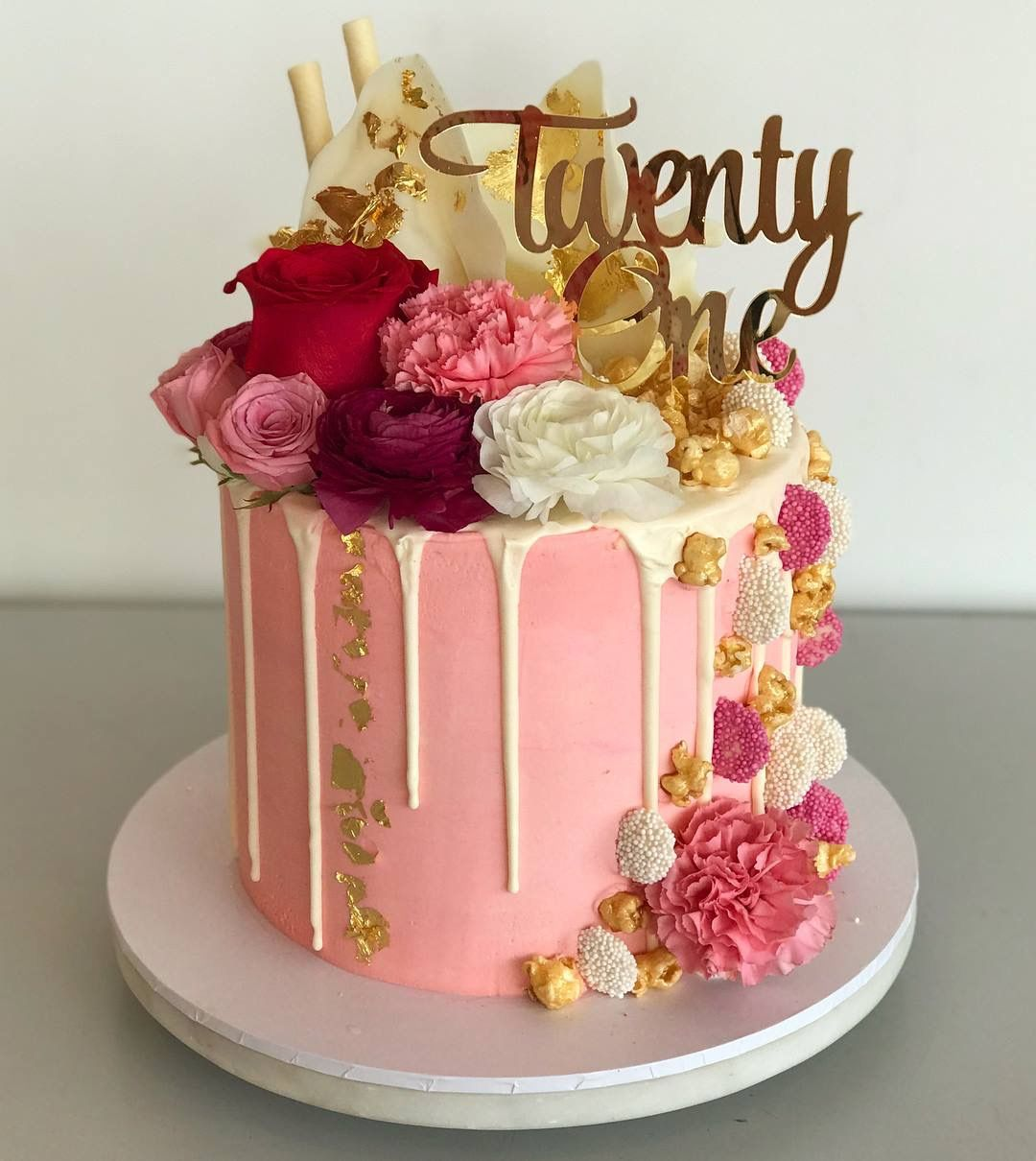 Twenty One Acrylic Gold Mirror 21st Birthday Cake Topper 21st