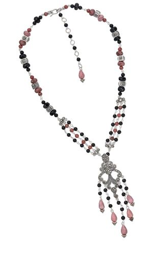 Triple-Strand Necklace with Marcasite Links and Pendant