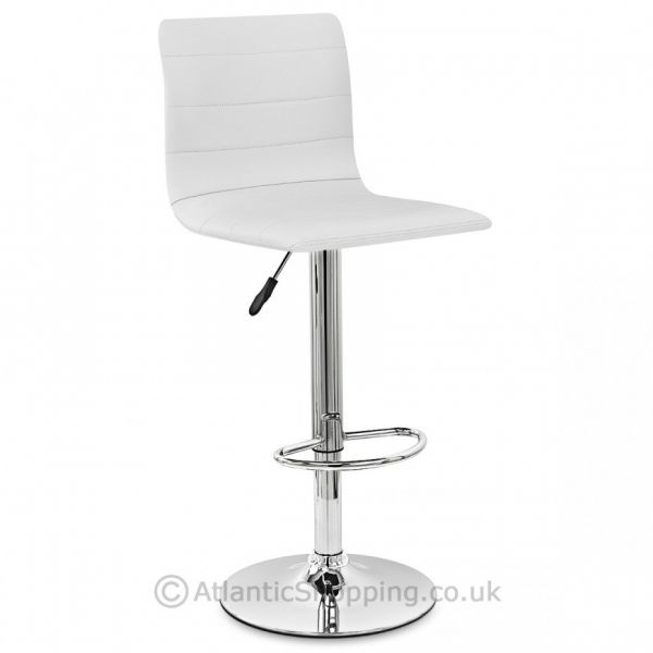 Inspirational White Leather and Chrome Bar Stools