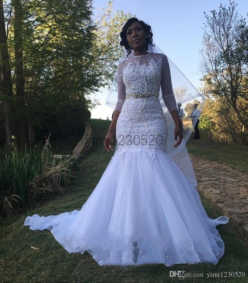 Romantic White Mermaid Wedding Dresses 2020 Sheer Jewel Neck 3 4 Long Sleeve Appliques Beads Pearls Garden Country Africa Bridal Gowns From Yimi1230520 128 25 Long Sleeve Mermaid Wedding Dress Unusual Wedding Dresses [ 953 x 835 Pixel ]