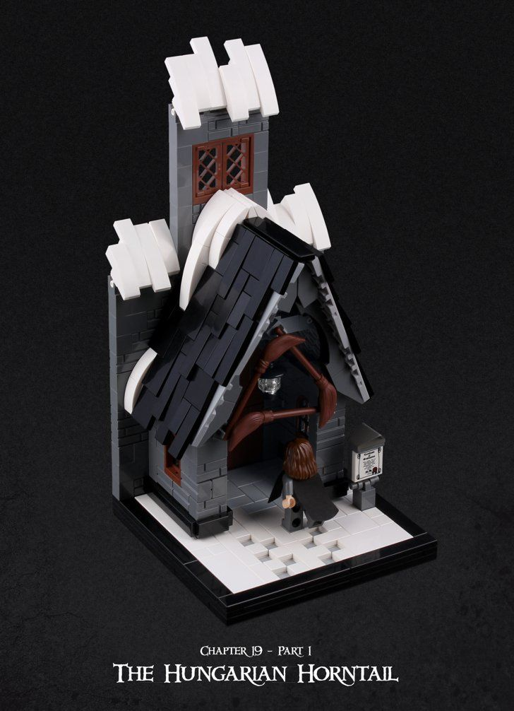 This Man's Chapter-by-Chapter Harry Potter Lego Creations Are INSANELY Good Chapter 19: The Hungarian Horntail (Part 1) So Harry put on his Invisibility Cloak in the dormitory, went back downstairs, and together he and Hermione set off for Hogsmeade.
