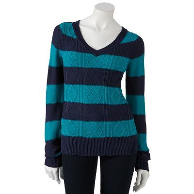 SO Striped Cable-Knit Lurex Sweater - Juniors' | Wish List ...