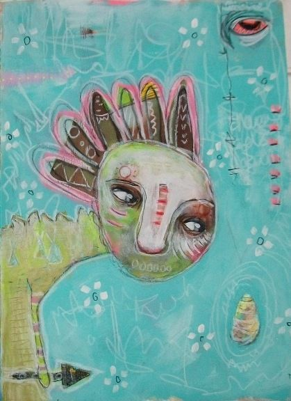 Micki Wilde mixed media artist from Leicestershire UK. Page from art journal.