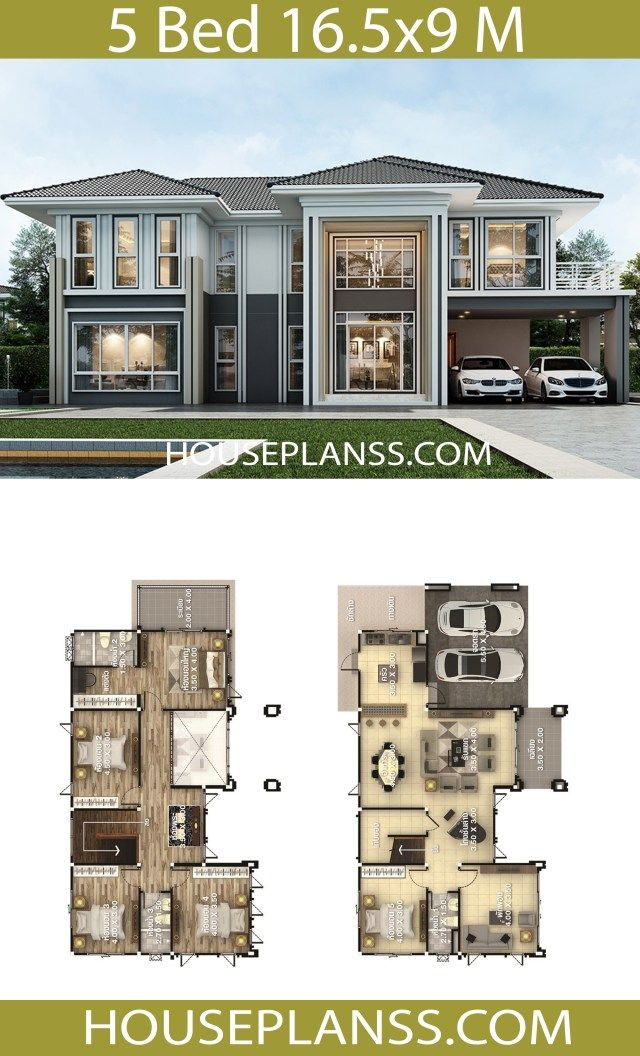 House Design Plans 16 5x9 With 5 Bedrooms Home Ideassearch Two Story House Design Beautiful House Plans Model House Plan