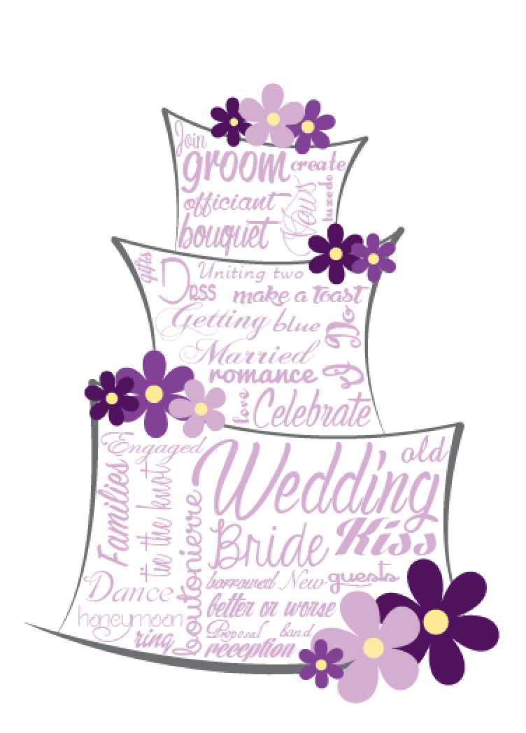 """Original artwork using words to describe """"WEDDING GIFT"""" -- Include a special greeting card with your present to the bride and groom. Can be customized with color choice. Come visit the Lexicon Delight Etsy store!"""